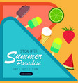summer paradise abstract background with fruits vector image vector image