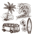 Surfing Sketch Icon Set vector image