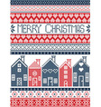Swedish houses merry christmas in blue and red vector image vector image
