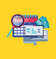 tax day with calendar and set icons vector image vector image