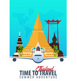 thailand time to travel banner with airplane vector image vector image