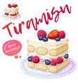 triple berry tiramisu dessert icon isolated on vector image vector image