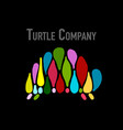 turtle colorful logo black silhouette for your vector image