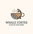 whale coffee logo design inspiration good for vector image vector image