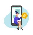woman managing gold bitcoins in smartphone app vector image vector image