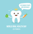 world oral care day with smiling tooth character vector image vector image