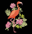 embroidery flamingo vector image