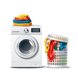 3d washing machine and laundry basket vector image vector image