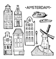 Background with hand drawn doodle Amsterdam houses vector image