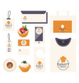 bakery corporate identity items with emblem vector image