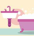 bathtub and washbasin foam bubbles bathroom vector image vector image