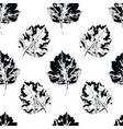 black and white seamless pattern howthorn leaves vector image vector image