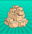 boxes with goods pop art vector image vector image