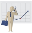 businessman talking on the phone against a rising vector image vector image