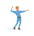 cheerful figure skater man in blue costume skating vector image vector image