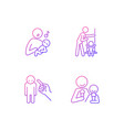child care gradient linear icons set vector image vector image