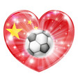 china soccer heart flag vector image vector image