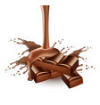 chocolate splash realistic delicious vector image