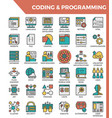 coding programming concept detailed line icons vector image vector image
