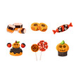 collection colorful halloween sweets candies vector image vector image