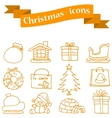 Collection of Merry Christmas set icons vector image