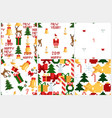 colorful pixel pattern set with christmas elements vector image vector image