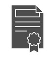 contract solid icon document with stamp vector image