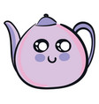 cute smiling violet teapot on white background vector image vector image