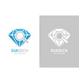 diamond and loupe logo combination jewelry vector image vector image