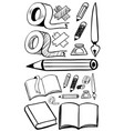 doodles set for different stationeries vector image vector image