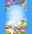 easter egg basket bunny chicken and flower vector image