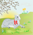 Easter lamb on the meadow and pussy willow vector image vector image