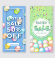 easter vertical banners with 3d eggs on green and vector image vector image