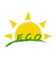 Eco product label Sunrise in green valley vector image vector image