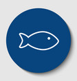 fish sign white contour icon vector image