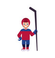 flat ice hockey player boy isolated vector image vector image
