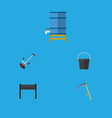 flat icon dacha set of pail barbecue cutter and vector image vector image
