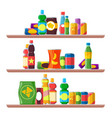 food shelves grocery store food aisle consumer vector image