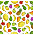 fruits sketched icons in seamless fruit pattern vector image vector image
