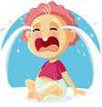 funny baby crying cartoon vector image