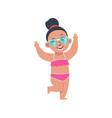 funny girl on summer holidays cartoon teenager vector image
