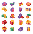 gift boxes isometric color icons set christmas vector image vector image