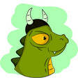 green dinosaur with viking hat vector image vector image