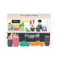 greengrocer seller standing at counter stall or vector image