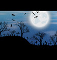 halloween background with cemetry bats and moon vector image vector image