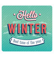 hello winter typographic design vector image vector image