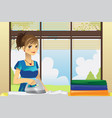housewife ironing clothes vector image