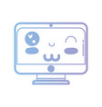 line kawaii cute funny screen monitor vector image