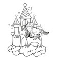 line sleeping boy riding unicorn with heat in the vector image vector image