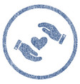 love heart care hands rounded fabric textured icon vector image vector image